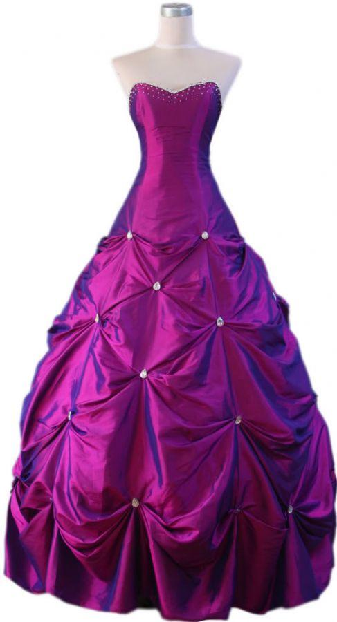 Plesové šaty bohatě řasené fialové plesové šaty p na